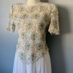 Ivory beaded 80's formal dress